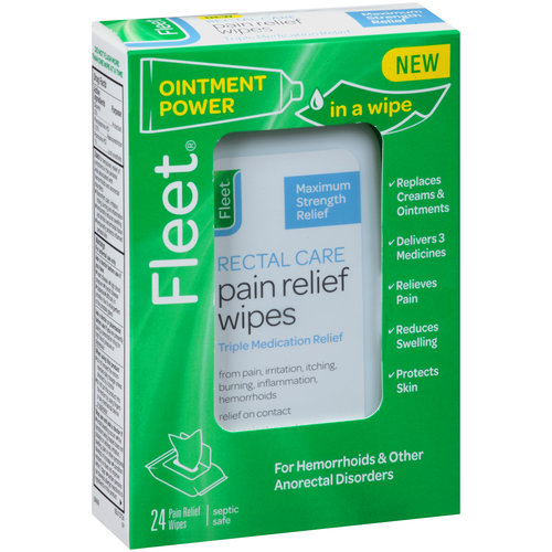 Fleet Rectal Care Pain Relief Wipes Triple Medication Relief - 24 CT