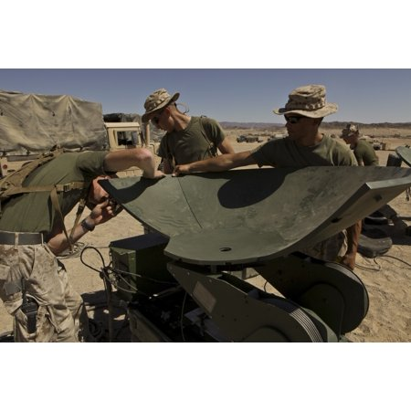Us Marines Assemble A Support Wide Area Network Satellite Dish Poster Print