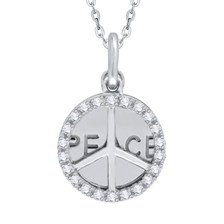 aa84046927b18 KATARINA - Diamond Peace Pendant Necklace in 14K White Gold (1 10 cttw
