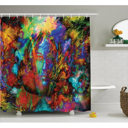 Abstract Art Shower Curtain Set Mystic Woman Face With Butterflies And Other Figures Vision Perspective
