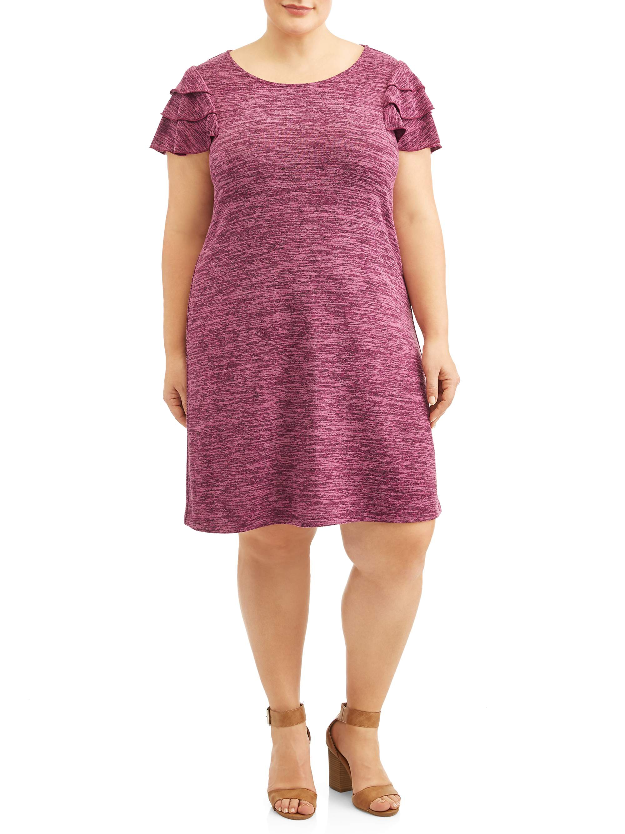 Women's Plus Size Ruffle Sleeved Knit Dress