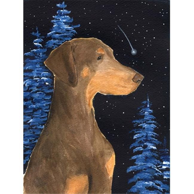Carolines Treasures SS8462CHF Starry Night Doberman Canvas Flag - House Size, 28 x 40 in. - image 1 of 1