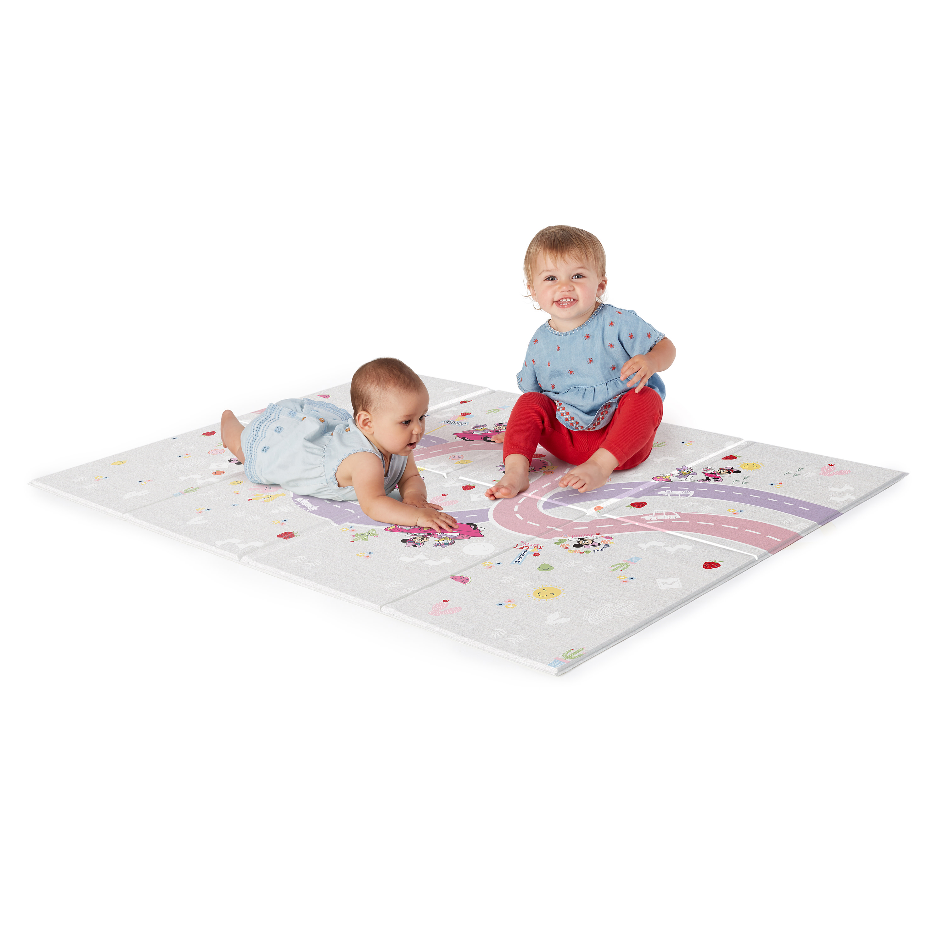 Waterproof Portable Double Sides Crawling Mats Cute Cartoon,Non Toxic for Kids Toddler Rug Baby Folding Mat,Large Tummy Time Folding Baby Crawling Mat Outdoor or Indoor Use 70 x 59 x 0.2 inches
