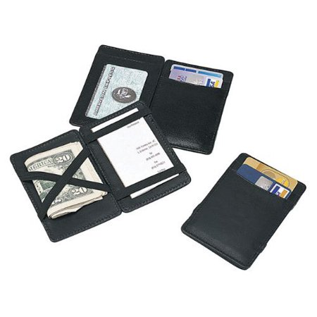 Goodhope Magic Wallet Black [Set of 4], • Made of rich full grain cowhide leather • This piece tucks away your money and cards like magic • Opens from either side and has elastic bands that (Leather Open Sided Mini Skinny Card Case)