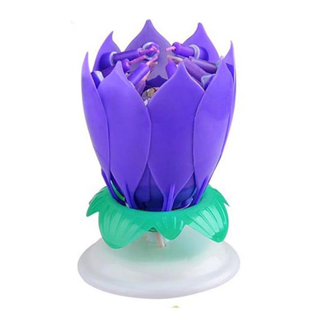 GZYF 1PC Amazing Birthday Flame Flower Lotus Music Candles Singing Rotatable Double Layers Candle Spin Candle with 14 Small Candles Purple