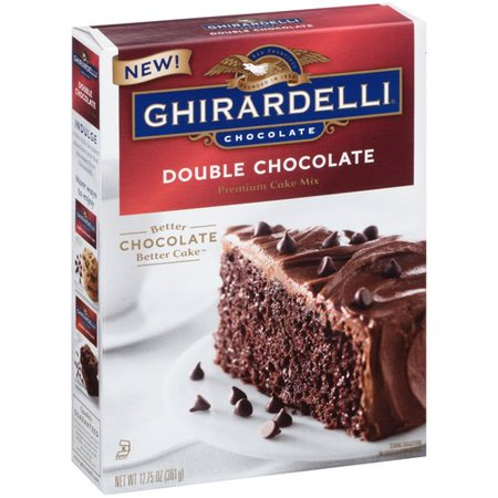 (2 Pack) Ghirardelli Double Chocolate Premium Cake Mix, 12.75oz Box