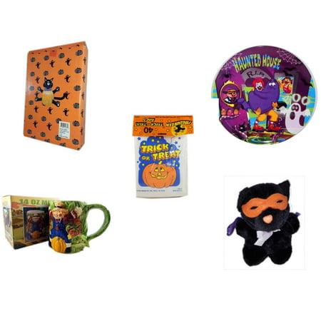 Halloween Fun Gift Bundle [5 Piece] -  Cat Pumpkin Push In 5 Piece Head Arms Legs - McDonald's Haunted House, RIP, Boo  Plate -  Trick or Treat Bags 40/ct - Earthenware Scarecrow & Harvest Design Mu