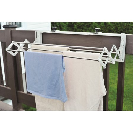 Xcentrik Compact Smart Dryer Telescopic Clothes Drying Rack XETK1001FeaturesStrong and durable construction made of heavy-gauge, long-lasting rust proof stainless steelFor indoor use, wall mounted, and outdoor use on balconies, ramps, fences and any type of recreational vehiclesUnique patented easy to install knobs that can be adjusted in length and width to fit on any type of balcony, ramp, or RV ladderCapacity of 13 ft of drying space and 5 rodsThe mounting bracket can fit on a ledge up to 6  thickEnergy efficient: reduces electricity which translates into large savingsType: Retractable ClotheslinesLocation: Indoor/Outdoor DimensionsDepth when fully extended: 16 Overall Height - Top to Bottom: 14 Overall Width - Side to Side: 31.5 Overall Depth - Front to Back: 8 Drying Space: 156 Overall Product Weight: 7 lbs