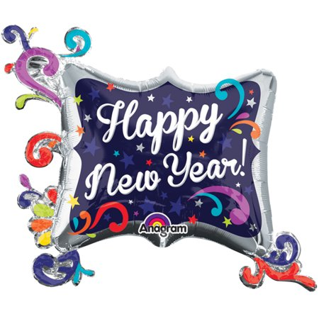 Navy Foil - Anagram Happy New Year! Swirl Frame Giant 34