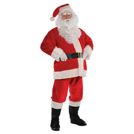 White Zoot Suit Costume (Plush Santa Suit Adult Costume -)