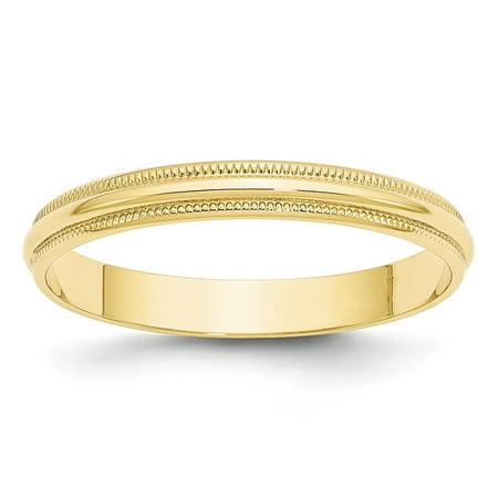 Solid 10k Yellow Gold 3mm Milgrain Half Round Wedding Band Size 6 3mm Half Round Wedding Band