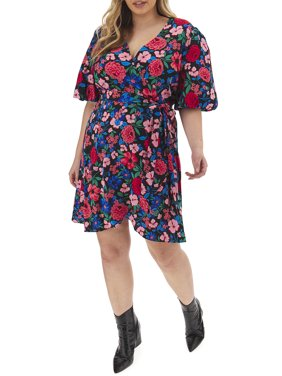 Simply Be Women's Plus Size Puff Sleeve Wrap Skater Dress