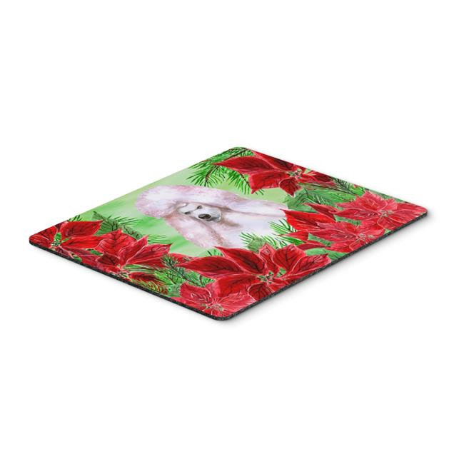 White Standard Poodle Poinsettas Mouse Pad, Hot Pad or Trivet