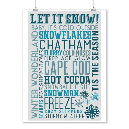 Cape Cod, Massachusetts - Let it Snow - Christmas - Typography - Lantern Press Artwork (9x12 Art Print, Wall Decor Travel Poster)