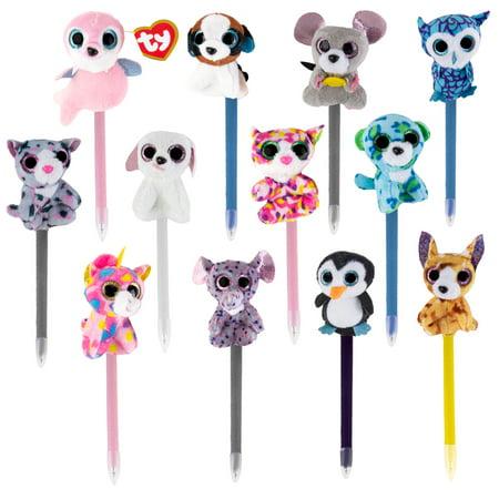 Beanie Boo Stuffed Animals (Beanie Boos 12 Pens Pack with Plush Beanie Babies TY Beanie Stuffed Animals On Top for Kids, Teens,)