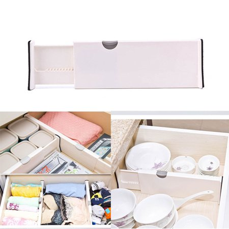 Muxika Drawer Dividers White Spring Loaded Expandable Kitchen Bedroom Organizer