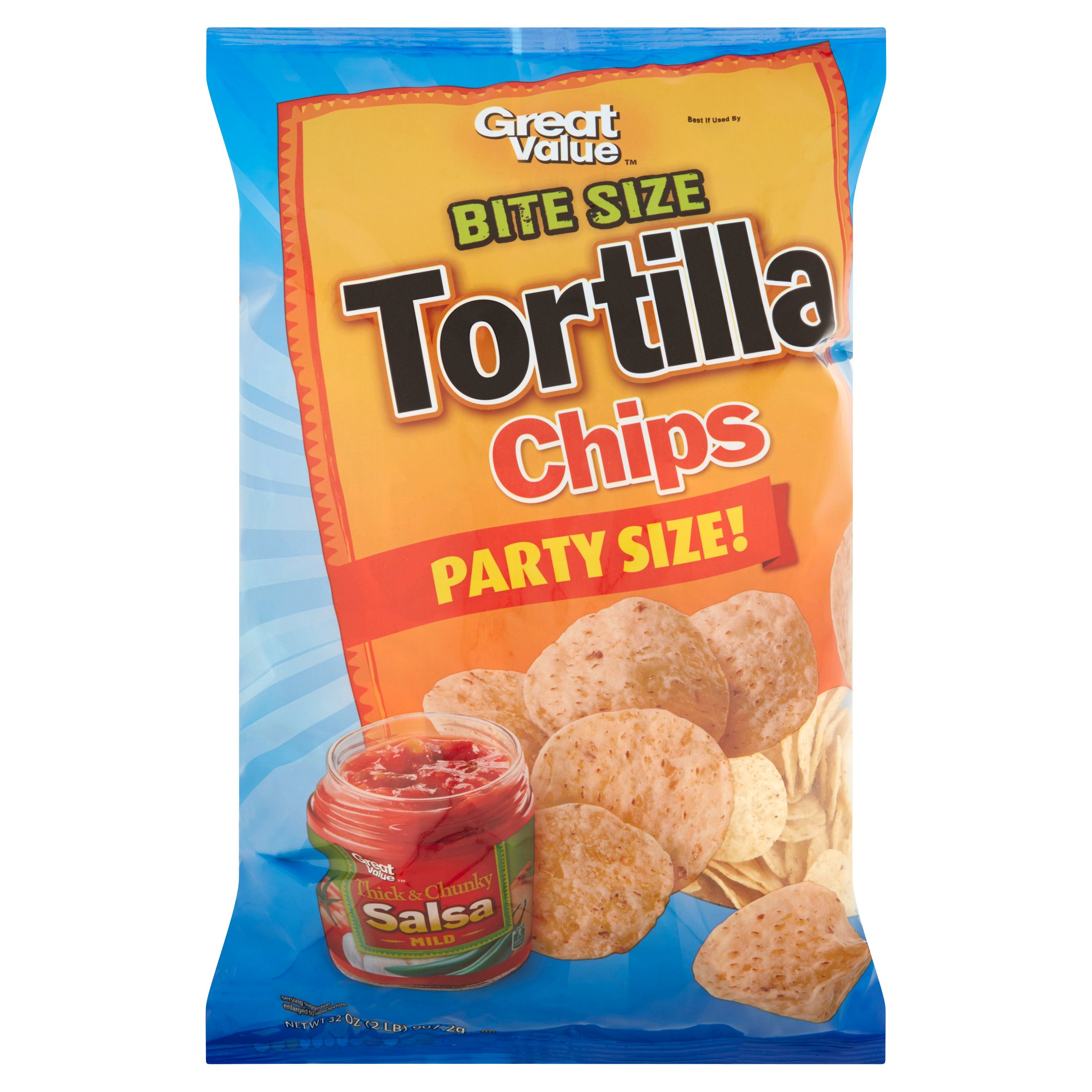 Great Value Bite Size Tortilla Chips Party Size!, 32 oz