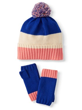 ColorPlay Women's Color Blocked Gift Pom Beanie and Handwarmers Gift Set