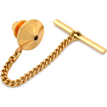 Gold Plated Pin Back With Tie Tack Clutch Chain New