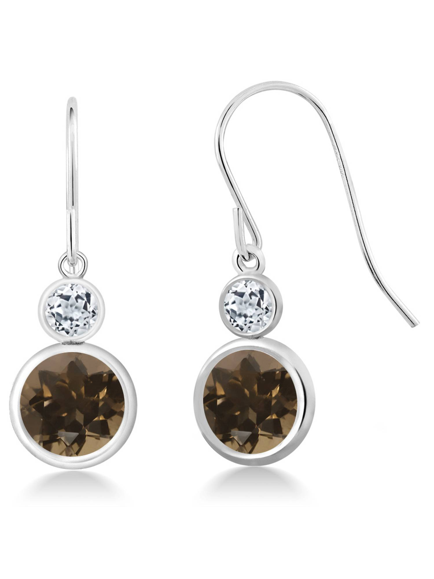 3.68 Ct Round Brown Smoky Quartz White Topaz 925 Sterling Silver Earrings