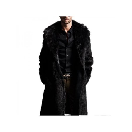 Lavapaort Mens Faux Fur Warm Thicken Mid-Long Jacket Trench Coat Overcoat (Trench Coat Men With Fur Hood)