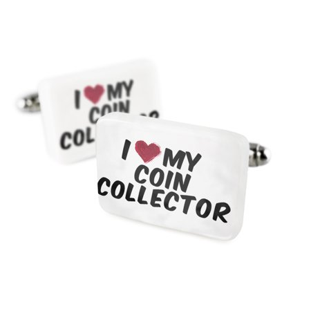 Cufflinks I heart love my Coin Collector Porcelain Ceramic NEONBLOND