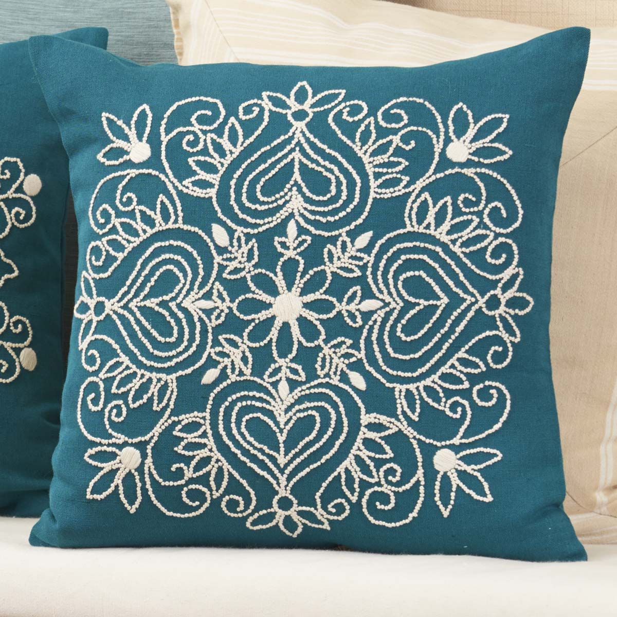 Nob Hill Candlewick Heart Pillow Cover Stamped Embroidery Kit
