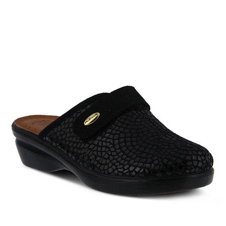 Flexus Women's Merula Clogs Black Micro Suede Leather Textile 36 M EU 5.5-6 M