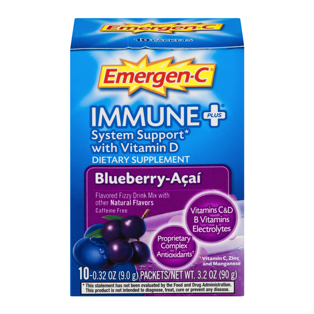 Emergen-c immune plus drink mix, blueberry acai 1000mg packets, 10ct