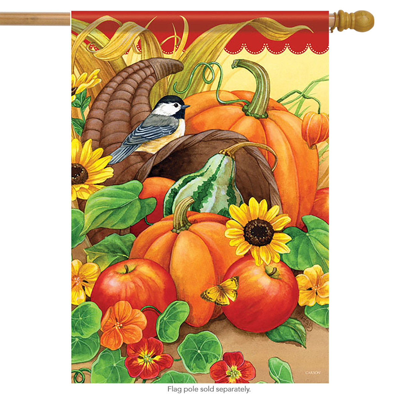 "Harvest Chickadees House Flag Thanksgiving Cornucopia 28"" x 40"""