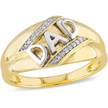 Mens Diamond Dad Ring (Men's Diamond-Accent 10kt Yellow and White Gold Dad Ring)