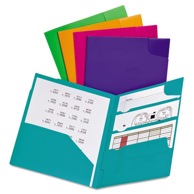 "Oxford Divide-it-up 4-pocket Poly Folders - Letter - 8 1/2"" X 11"" Sheet Size - 110 Sheet Capacity - 4 Internal Pocket[s] - Polypropylene - Green, Teal, Pink, Purple, Orange - 1 Each (99837)"