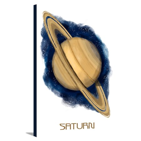 Saturn - Watercolor - Lantern Press Artwork (12x18 Gallery Wrapped Stretched Canvas)