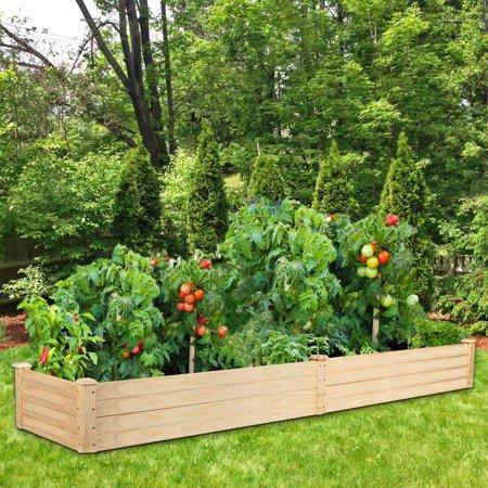 UBesGoo Wooden Raised Garden Bed Planter Box Kit, for Vegetable/Flower/Herb Outdoor Gardening Natural Wood, 96
