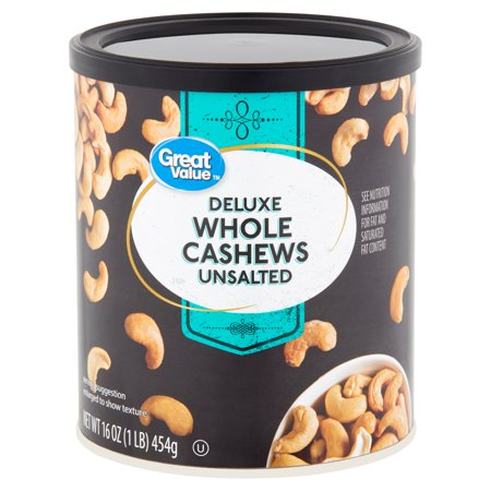 Great Value Deluxe Unsalted Whole Cashews, 16 - Cashew Nuts Fruit