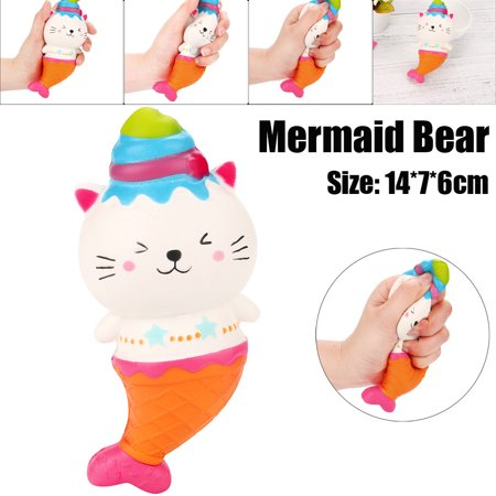 Mosunx Mermaid Bear Cream Scented Squishy Slow Rising Squeeze Strap Kids Toys Gifts - Mermaid Stuff For Kids