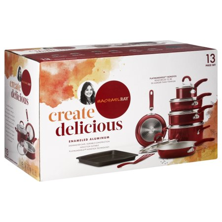 Rachael Ray 12147 Create Delicious Aluminum Nonstick Cookware Set, 13 Piece - Red Shimmer