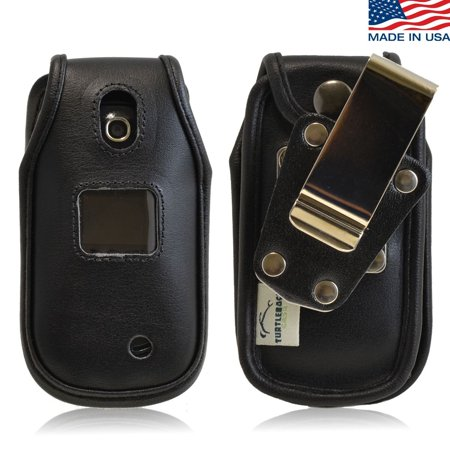 Phone Case Removable Belt Clip - Turtleback Fitted Case for LG Revere 3 VN170 Flip Phone Heavy Duty Black Leather Phone Case with Removable Belt Clip - Made in USA