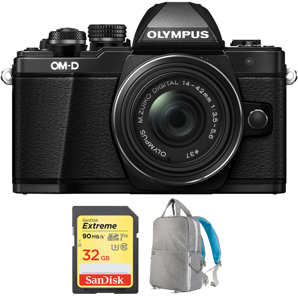 Olympus OM-D E-M10 Mark II Mirrorless Digital Camera with 14-42 IIR Lens (Black) V207051BU000 with Sandisk 32GB Extreme SD Memory UHS-I Card & Deco Gear Large Photo/Video Backpack Grey