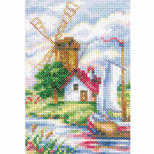 "RTO Tulip Time Windmill Counted Cross-Stitch Kit, 3-1/2"" x 6"", 14 Count"