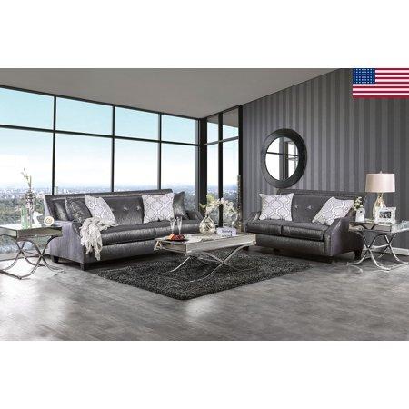 Sofa Loveseat Shined Black Fabric Modern Glam Up Living