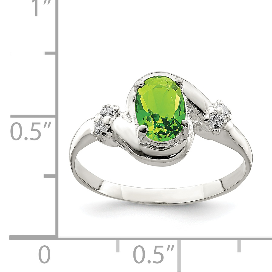 925 Sterling Silver Lime Green Oval Cubic Zirconia Cz Band Ring Size 6.00 Fine Jewelry Gifts For Women For Her - image 1 de 2