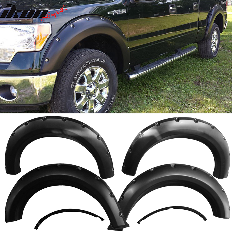 Fits 09-14 Ford F150 Pocket Rivet Style Fender Flares Wheel Trim Cover 4PCS - PP