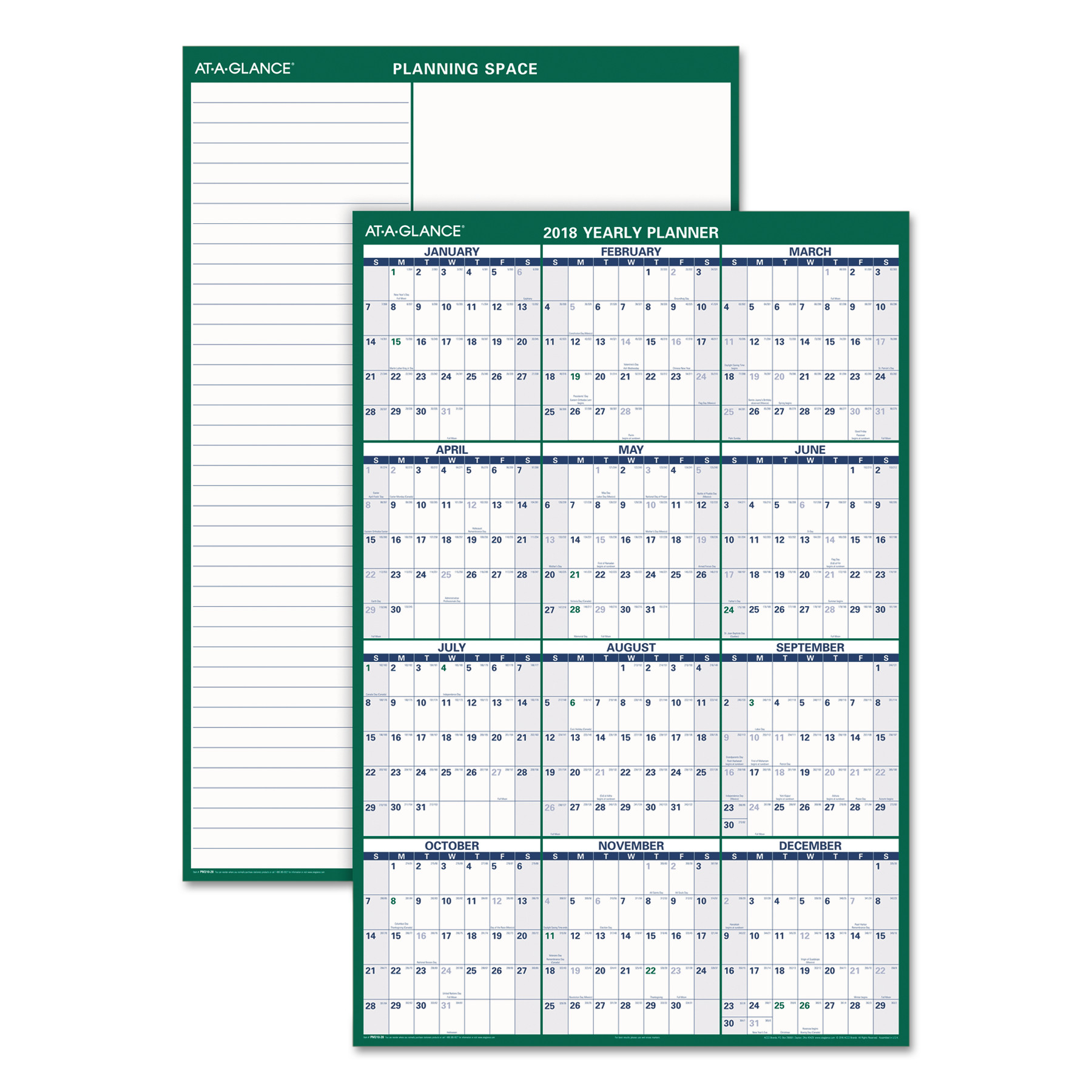 AT-A-GLANCE Vertical Erasable Wall Planner, 32 x 48, 2018