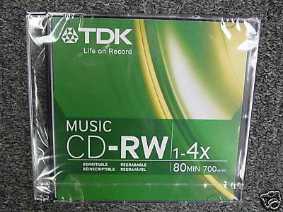 TDK CDRW80TWN 80 Minute Music  Consumer Use CD-RW *(5 Pack) by TDK