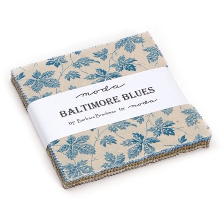 Scene Quilt Fabric - Baltimore Blues Charm Pack By Barbara Brackman; 42 - 5