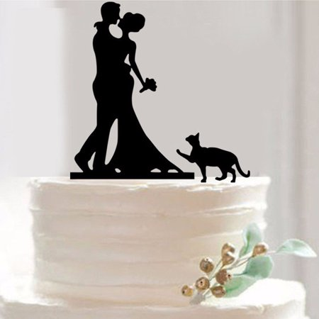 Bouquet Silhouette Bride Groom and Pet Cat Cake Topper For Wedding (Bride And Groom Halloween Cake Topper)