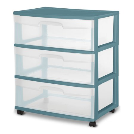 Sterilite 3 Drawer Wide Cart Cool Water