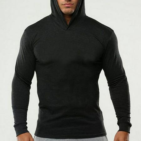 - Muscle Men Long Sleeve Casual Tops Shirts Slim Fit Hooded T-shirt Hoddies Tee Black M