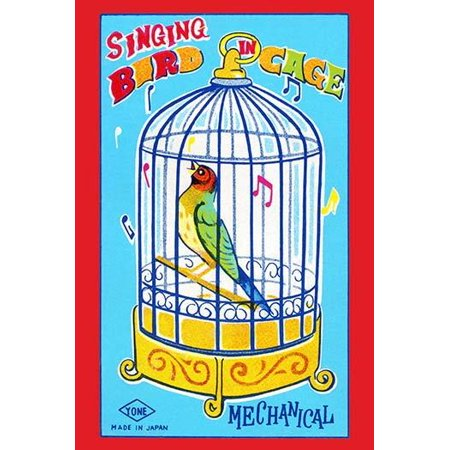 Why does the caged bird sing The answer mechanics  This graphic art from an antique Japanese tin childrens toy from the 1950s was the box are of a toy cage complete with bird  The mechanics allow the (Antique Japanese Art)